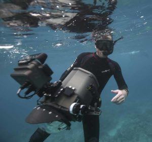Underwater Cameraman Richard Brooks filming in Palau with the RED Dragon 6K cinema camera