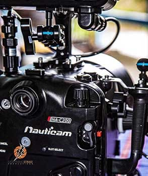 Underwater cinema camera housing filming and photography
